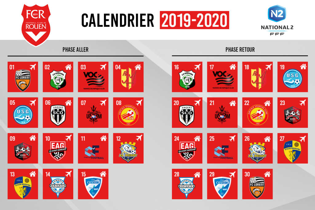 Calendrier National 2020 2019.Le Calendrier De National 2 Devoile Fc Rouen