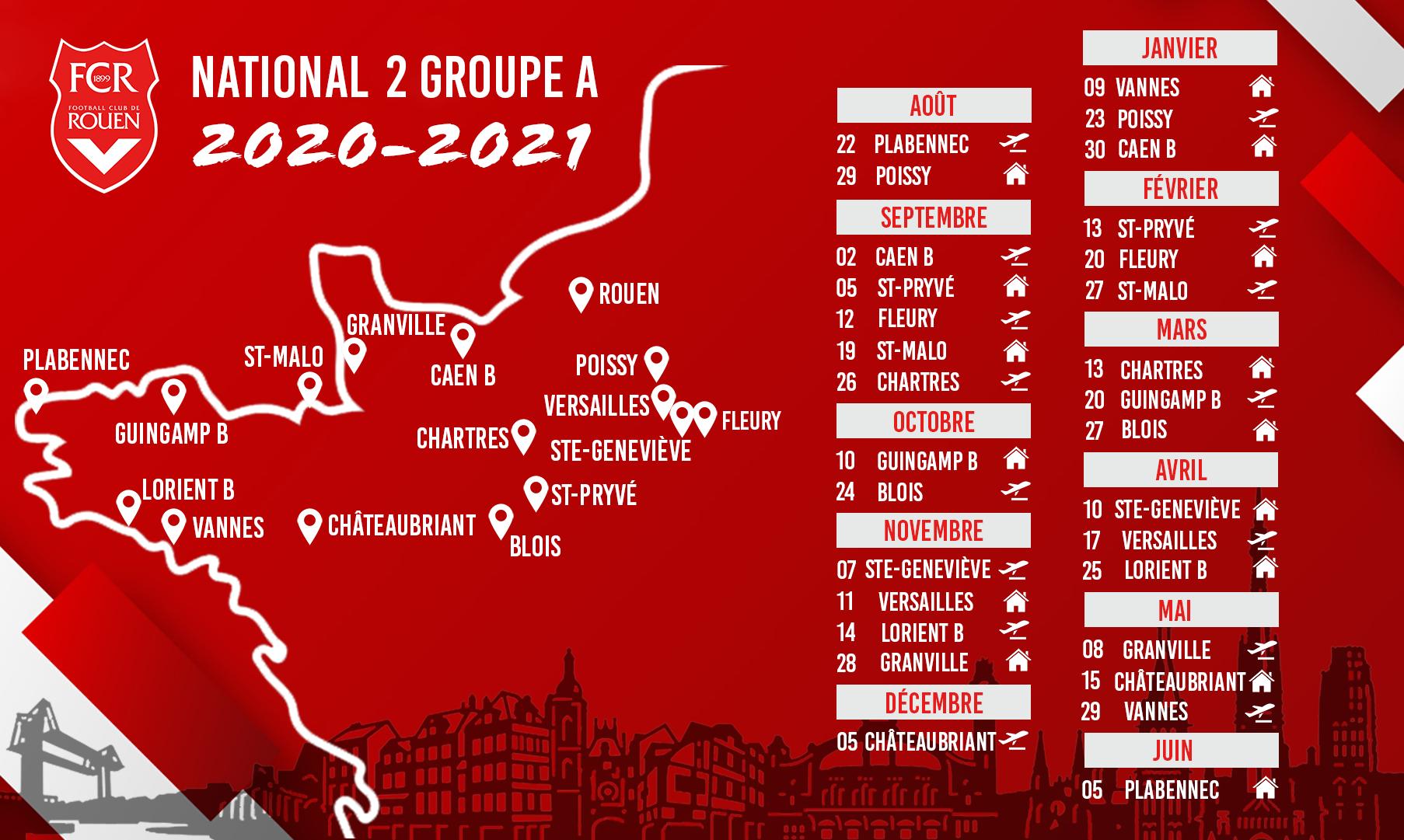 Le calendrier de National 2 dévoilé ! – FC Rouen 1899